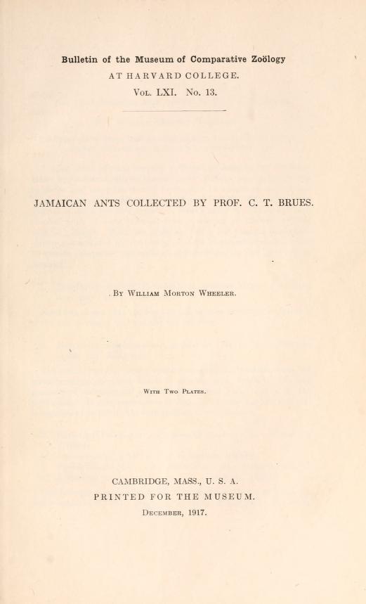 MCZ Bulletin Vol. LXI no. 13